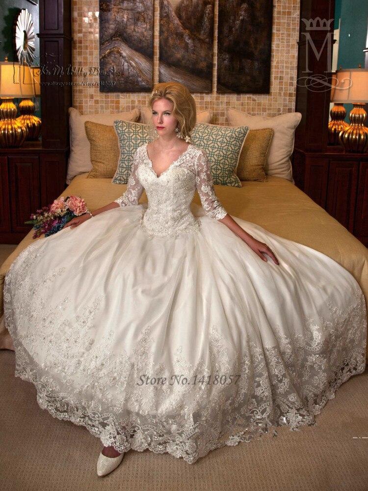 Modest Winter Luxury Wedding Dresses 2016 Long Sleeve Lace Bride ...