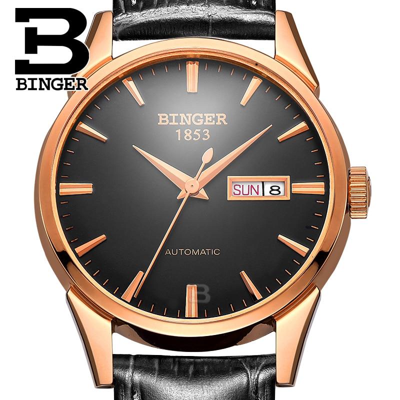 New Switzerland men's watch luxury brand BINGER Automatic Mechanical Watch Genuine Leather waterproof Wristwatches Men B1128-12