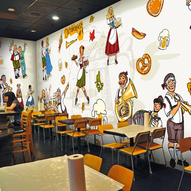 Photo wallpaper vintage german beer restaurant background for Cafe mural wallpaper