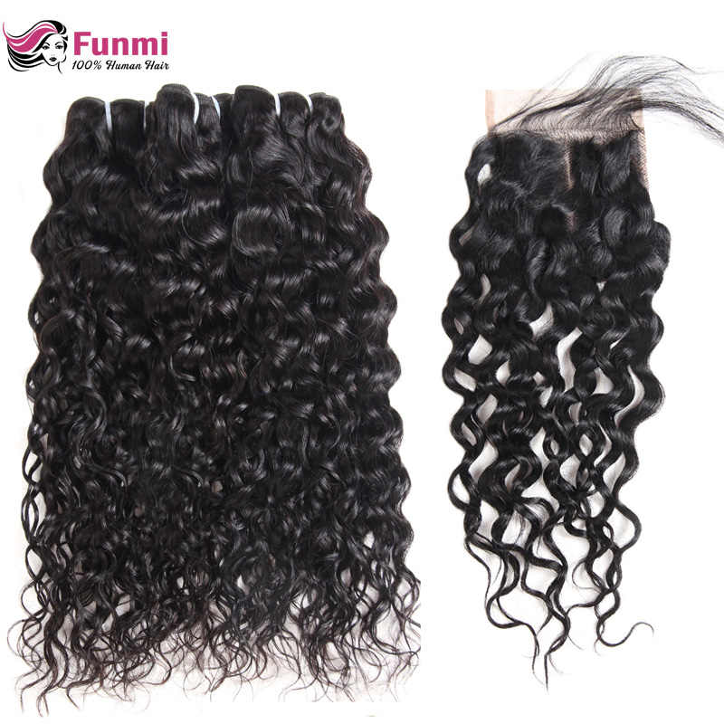 Funmi Unprocessed Virgin Water Wave Bundles with Closure Double Drawn Virgin Hair Brazilian Hair Weave Bundles with Closure