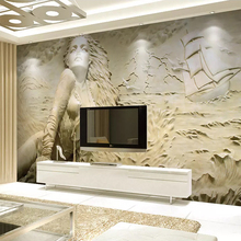 Custom Wall Mural Art Wall Painting European Style Golden 3D Stereoscopic Relief Sea Wave Sailboat Beauty