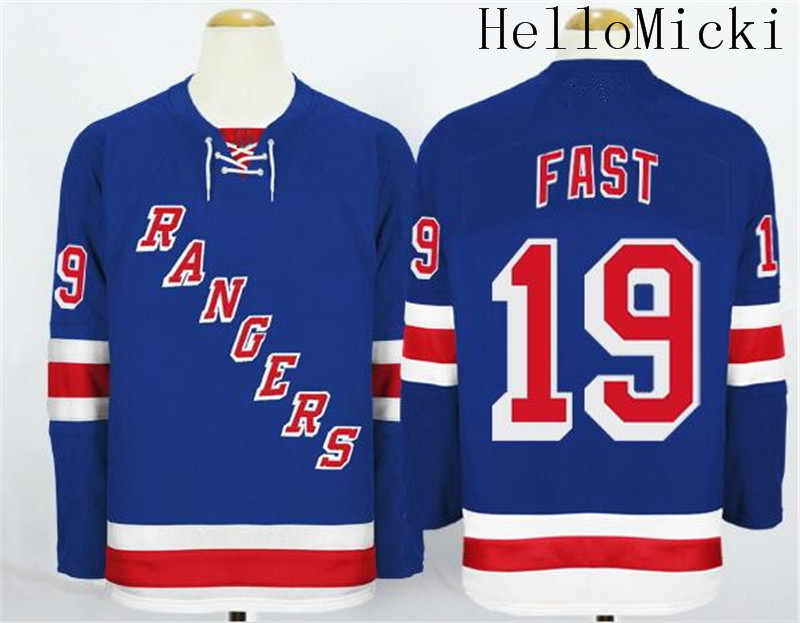 Men s Stitched Men s New York Rangers home Jersey  19 Jesper Fast Royal  Blue Ice Hockey Jersey-in Hockey Jerseys from Sports   Entertainment on ... 6420f7bef