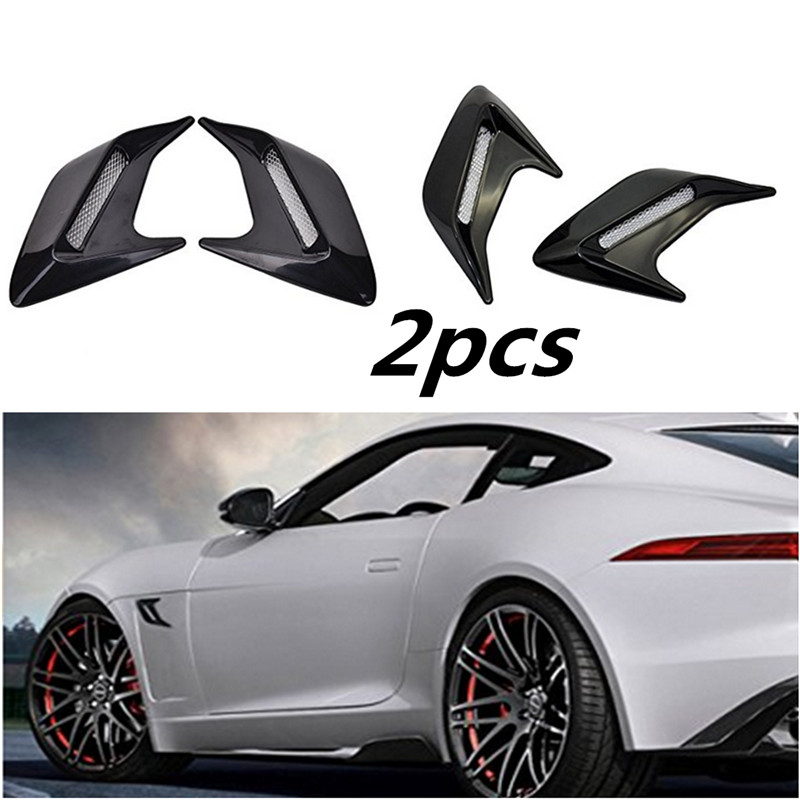 BBQ@FUKA 2pcs ABS Flow Vent Intake Fender Grille Air Net Door Decal Cover Sticker For Car Hood Side Sticker Exterior Accessories