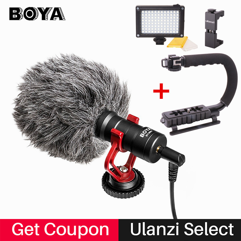 BOYA BY MM1 Camera Video Shotgun Microphone with Deadcat Interview Mic for iPhone Zhiyun Smooth Q