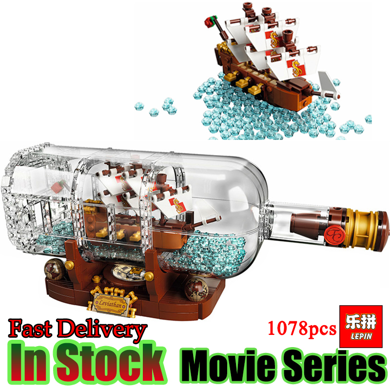 Lepin 16051 1078Pcs Movie Series The 21313 Pirate Ship in a Bottle Set Building Blocks Bricks Toys Birthday Gifts 8 in 1 military ship building blocks toys for boys