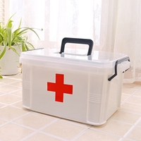 Red First Aid Clear Container Bin Family Emergency Kit Storage Box Detachable Tray Family Medicine Metal