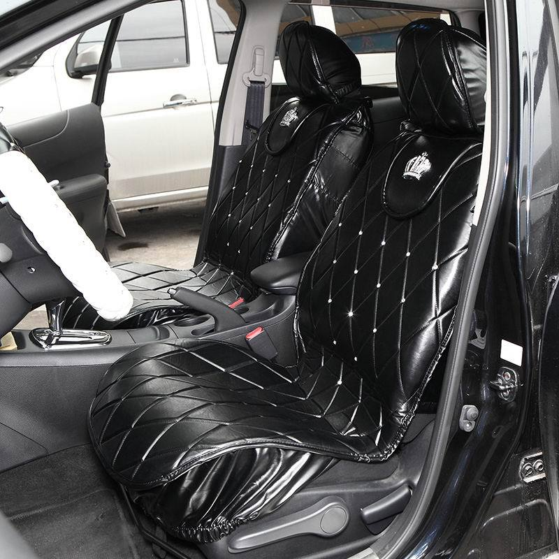 Interior Luxury Diamond DAD Universal Car Seat Cover General Four Seasons Black PU Leather Auto Accessories