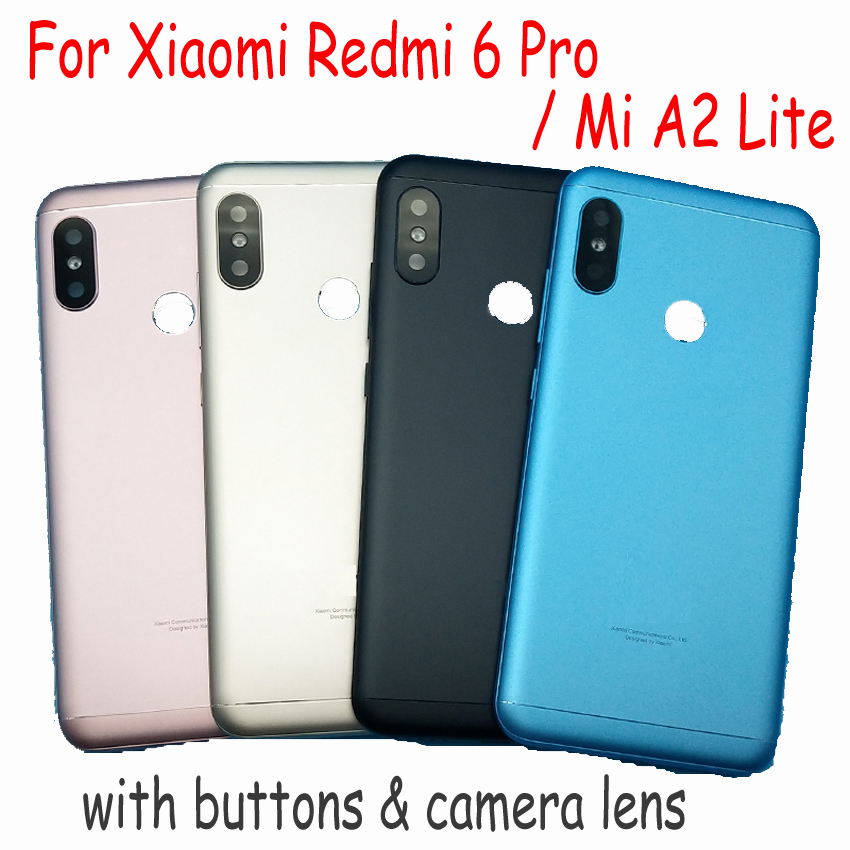 Original For <font><b>Xiaomi</b></font> Redmi 6 Pro / <font><b>Mi</b></font> <font><b>A2</b></font> Lite <font><b>Battery</b></font> Back <font><b>Cover</b></font> Rear Door Housing + Side Key + Camera Glass Lens Replacement image