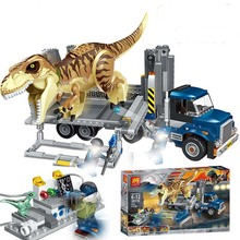 лучшая цена 631Pcs Jurassic World T. Rex Transport Truck Dinosaur Tyrannosaurus Rex Model Building Blocks Toys Bricks Compatible legoings