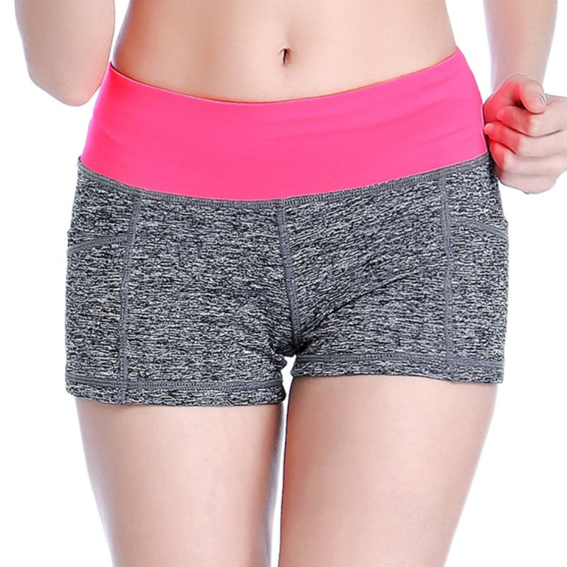 1pcs Women Sports Shorts Workout Yoga Shorts Solid Breathable Quick Dry Running Boy Cut Shorts with Hidden Pocket