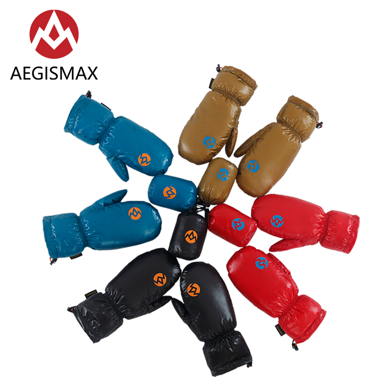 AEGISMAX Unisex Winter Warm Nylon 95% White Goose Down Gloves Full Fingers Mitten For Skiing Snowboard Cycling Hiking Camping