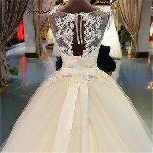 Image 5 - חלול חזרה אשליה בציר אורגנזה חתונה שמלת כדור שמלת כלה שמלה לבן ללא שרוולים משפט רכבת חתונת שמלות WX0008