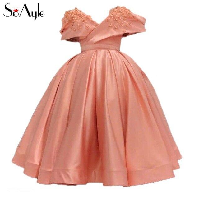 SoAyle Ball Gown 2018 Prom Dresses Off the Shoulder Satin Party Gowns Tea  Length Vestidos De Festa Graduate Dresses 2f17da8fccaa