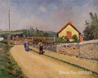 Canvas Art Reproduction The Railroad Crossing at Les Patis Camille Pissarro Paintings for sale hand painted High quality