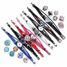 Hot sale 1pcs/lot PU Leather bracelet Bangle Jewelry 18mm snap Bracelet For Snap DIY Button SZ0370d