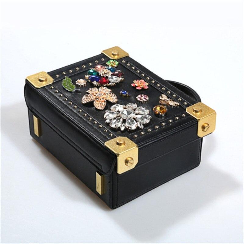 B0079 Women Leather Handbag Luxury Diamond Flower Hollow Flap Shoulder Bag Ladies High Quaity Evening Bags Dinner Purse