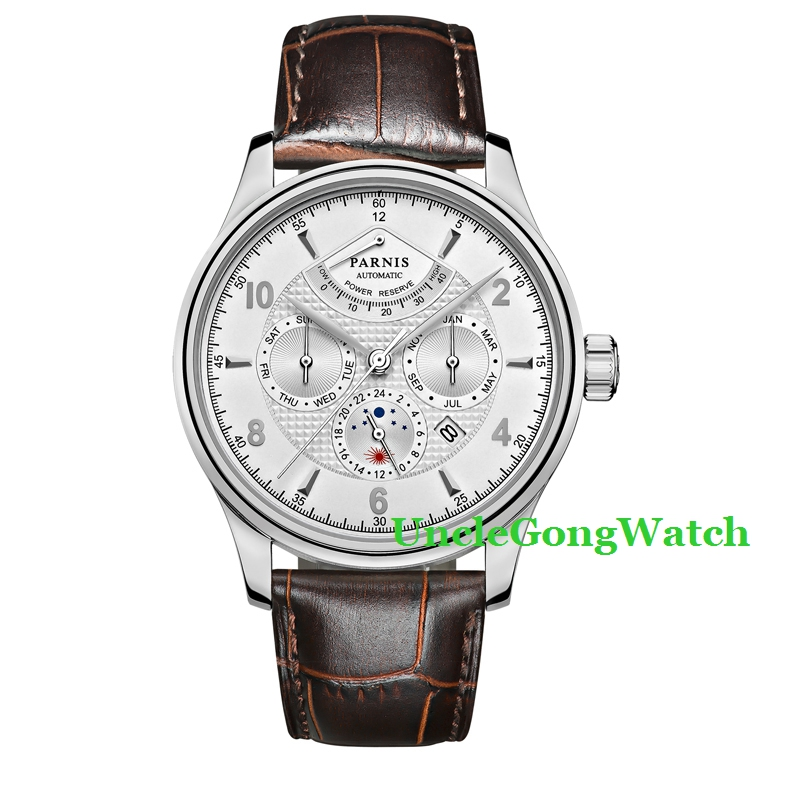Parnis 42mm Mens Automatic Watch, White Dial Silver Marks Power Reserve Clock, Brown Strap Pin Buckle Timepiece PA4205SWW  casual 43mm parnis automatic power reserve white dial blue numbers silver watch case business watch men