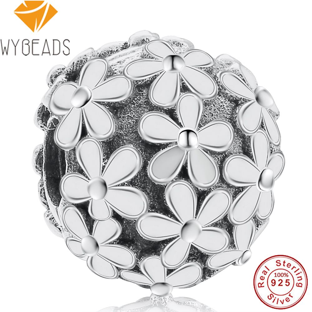 WYBEADS 925 Sterling Silver Darling Daisy Meadow Clip White Enamel Charms European Bead Fit Bracelet DIY Accessories Jewelry