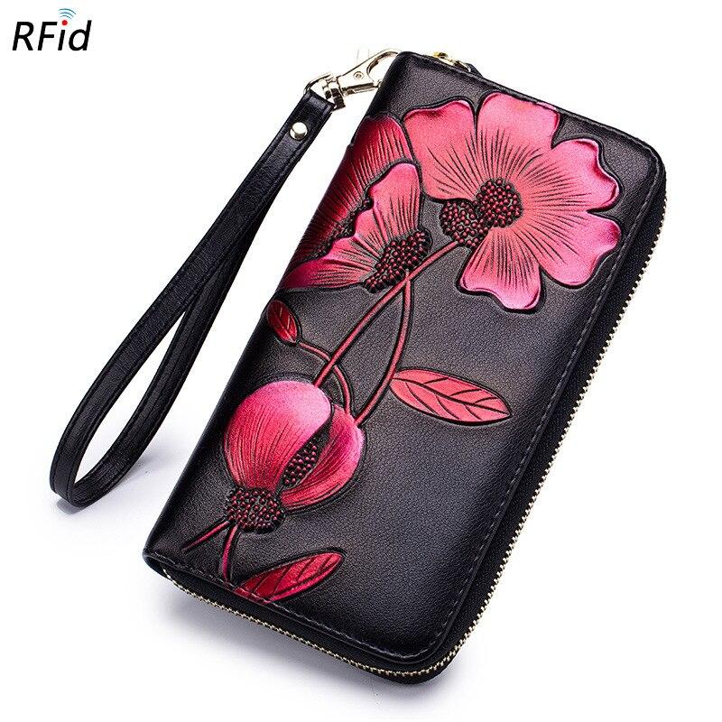 RFid Wallet Female Women Purse Flower Genuine Leather Carteria Clutch Vintage Long Multifunction font b Phone