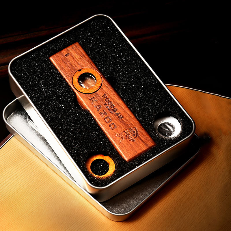 Wooden Kazoo Orff Instruments Ukulele Guitar Partner Woodman Wood Harmonica With Metal Box Kazoo For Adult Kids Kazoo