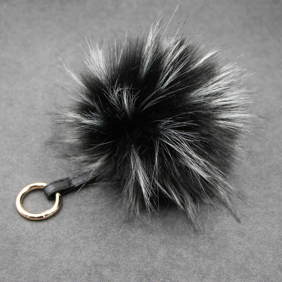 Moda Cores 15 12 cm fluffy Pompons Pele de Pele De Raposa Bola Chaveiro Chaveiro Chaveiro Pompom Pom Pom Chaveiro de Charme bolsa Pingente
