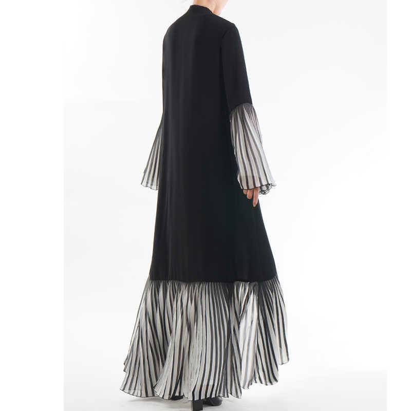 Nowy zjednoczone emiraty arabskie Abaya dubaj Kaftan malezja plisowana w paski kardigan kimono muzułmańska sukienka hidżab kobiety szata dubaj turecki islamska odzież