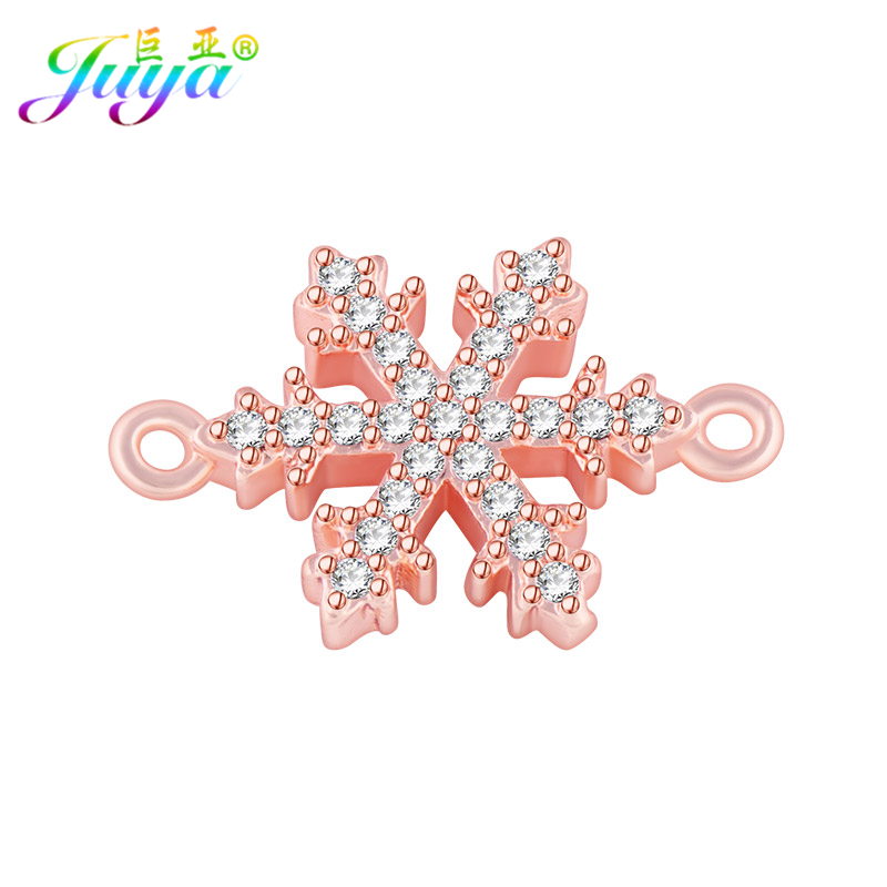 Gold/Rose Gold/Silver DIY Jewelry Accessories Snowflake Charm Connectors For Women Hand Made Bracelets Earrings Jewelry Making