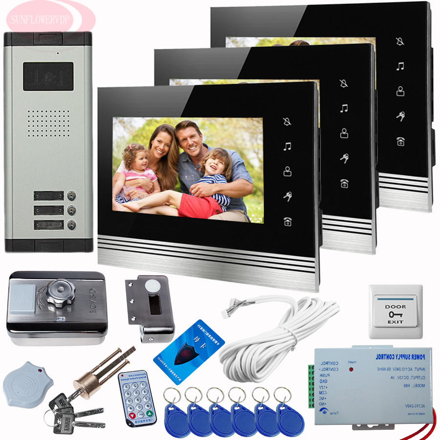 SUNFLOWERVDP Touch Key Video Intercom Door Bell With Camera+Rfid Unlock Electronic Lock Night Vision Device Home Phone Intercoms sunflowervdp wired video door phone 7inch tft color lcd inner door bell fingerprint code unlock touch button intercom video kit