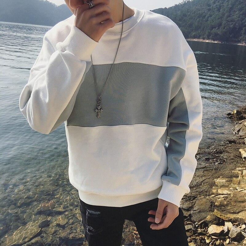2018 Printemps Nouveau Mode Blanc/Vert Patchwork Col Rond Hommes Occasionnels de Pulls Molletonnés hommes Japonais Style Hoodies Taille M-XL