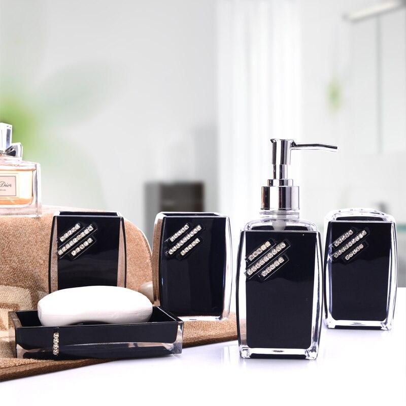 Cinq-pièce accessoires de salle de bain acrylique gobelet à brosse à dents Dentifrice Détenteurs distributeur de savon ensemble La salle de bains produits