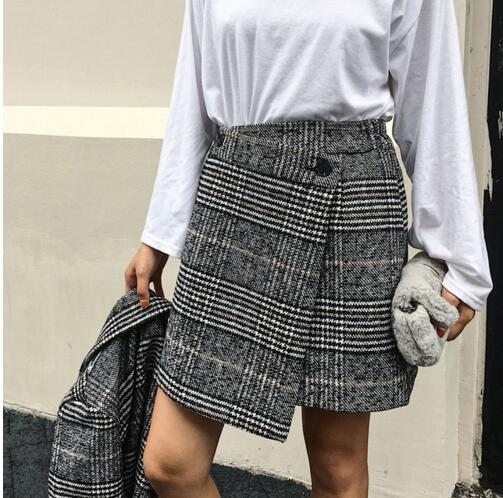 f3489c9414 Qooth Spring 2019 Skirts Womens Casual Lattice High Waist Plaid Skirt  Asymmetrical Woolen Skirt Gray Ladies New Clothing QH1718