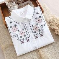 Dioufond רקמה בסגנון הסיני חדש חולצות Slim לבנה חולצות חולצות כותנה נקבה חולצה שרוול ארוך נשי דפוס שלג