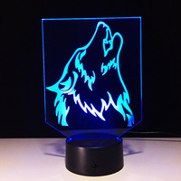 N583 3D Wolf Head Action figure Model Style LED lamp 7 Color Changing Atmosphere Bedroom Lamp Home Table Decor lamp