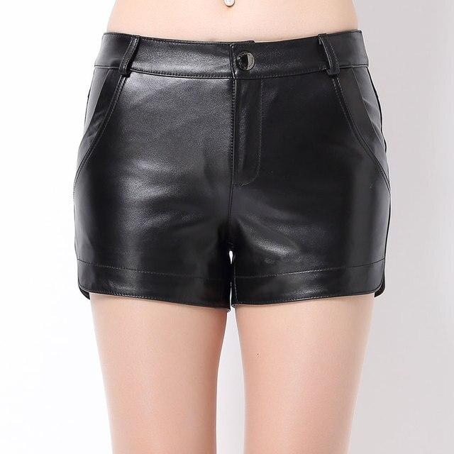 Yeni Varış Gerçek Hakiki Deri Şort Kadınlar Için Kış Cepler Fermuar Fly Orta Bel Slim Sıkı Çizmeler Koyun Derisi Kısa Pantolon