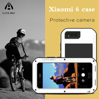 LOVE MEI mi6 Metal Protective Armor Case on for Xiaomi mi 6 mi6 Glass Cover Fundas Xiaomi mi6 Shockproof Phone Case Men Women