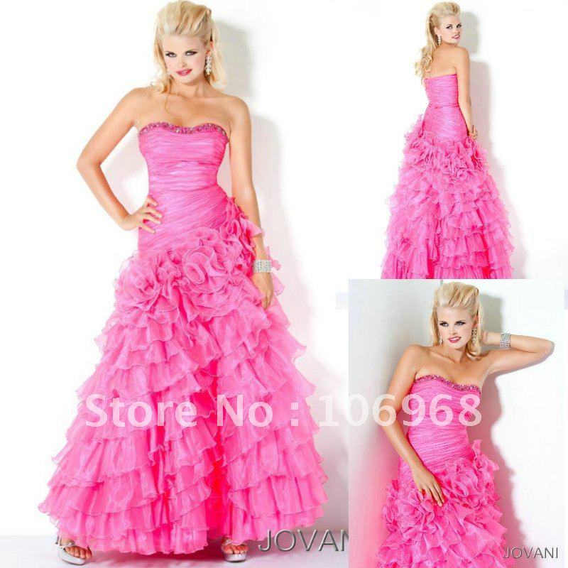 NEW LOOK Free Shipping Pink Prom Dress 2012 Strapless E108-in Prom ...