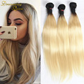 613 Blonde Virgin Hair 3 Bundles Dark Roots Blond Hair Extensions Brazilian Virgin Hair mink straight 100% Human Hair Weave