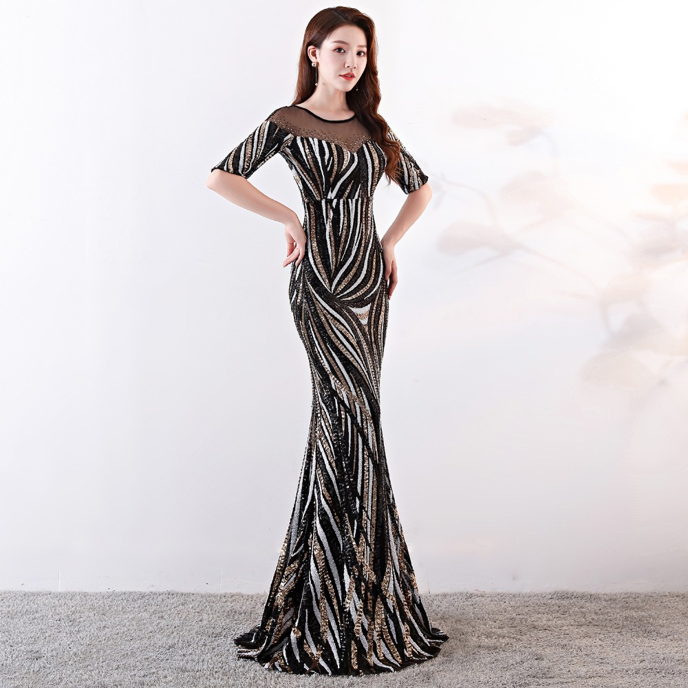 Elegant Crystal Beaded See Through Voile Shor Sleeve Mermaid Long Formal Dresses For Women 2018 Sexy Nightclub Wear Party Dress (21)