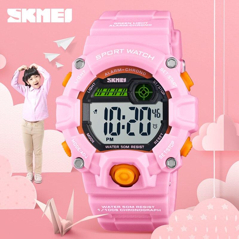 SKMEI Sport Kids Watches Children's Waterproof Electronic LED Digital Watch Children Week Display Student Watch For Girls Boys