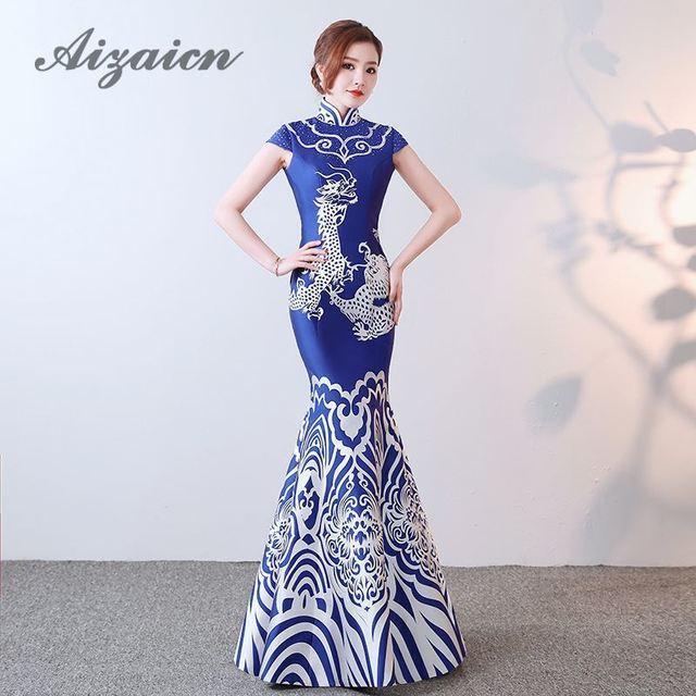 3b3fa4be329397 2018 robe de soirée en porcelaine bleue sirène Applique chinoise  traditionnelle Cheongsam longues robes Style Oriental mariage Qipao