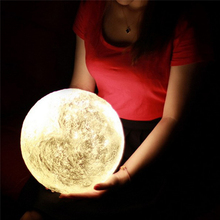 NDTUSMZ Plastic 3D Print Moon Lamp Colors Change White Yellow Touch Switch Bedroom Bookcase Night Light Home Decor Creative Gift