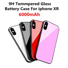 6000mAh Ultra-Thin Tempered Glass Battery Case Charging Box for iPhone XR Mobile Power Bank Charging Box External Power Bank Sup