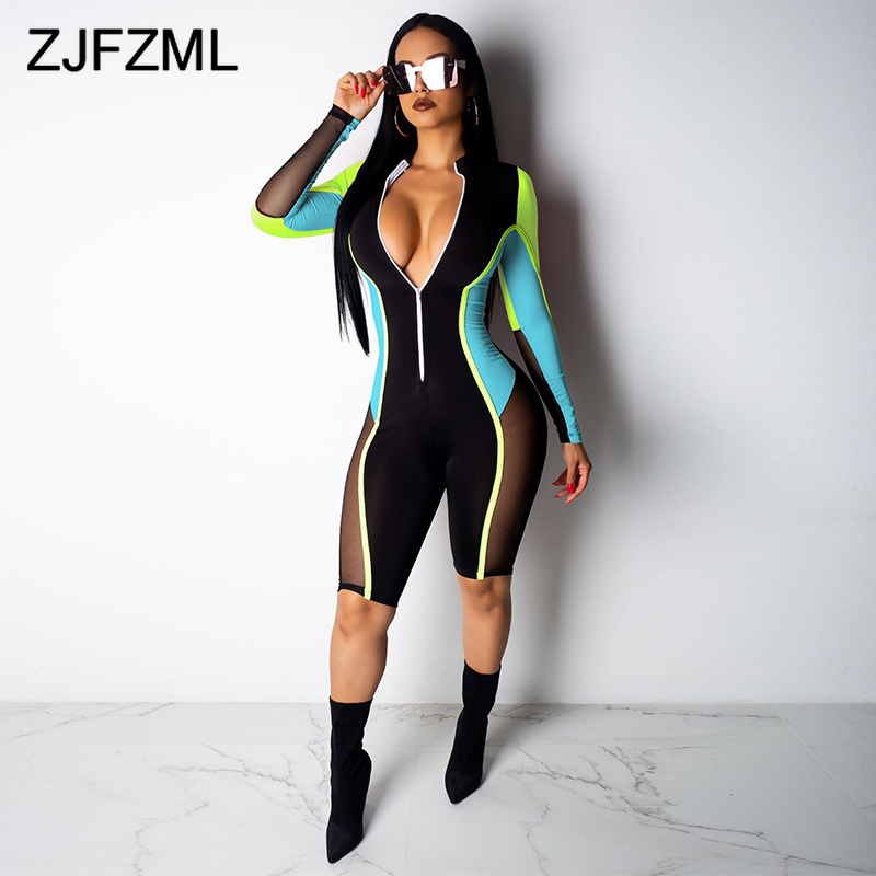 Color Patchwork Sheer Mesh Bodycon Jumpsuit Women Deep V Neck Full Sleeve Night Club Playsuit Sexy Front Zipper Plus Size Romper
