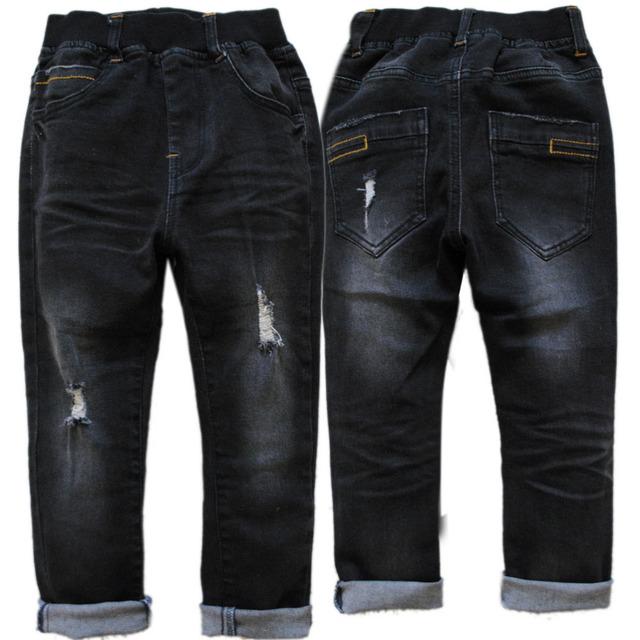 4010 calças de brim menino denim calças skinny preto primavera outono meninos calças turno ups crianças crianças jeans casual jeans buraco elásticos