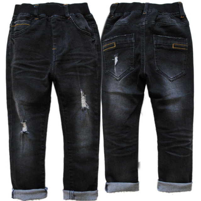 4010 skinny black jeans boy denim pants  spring autumn boys trousers turn ups children kids jeans casual elastic  hole jeans