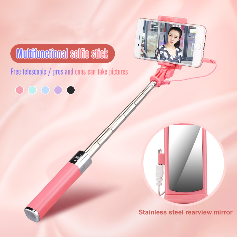 Mini Portable Folding Wire Control Non-Slip Handle Selfie Stick CL-02 For IPhone Button For Xiaomi Redmi Note 7 6 Pro For Huawei