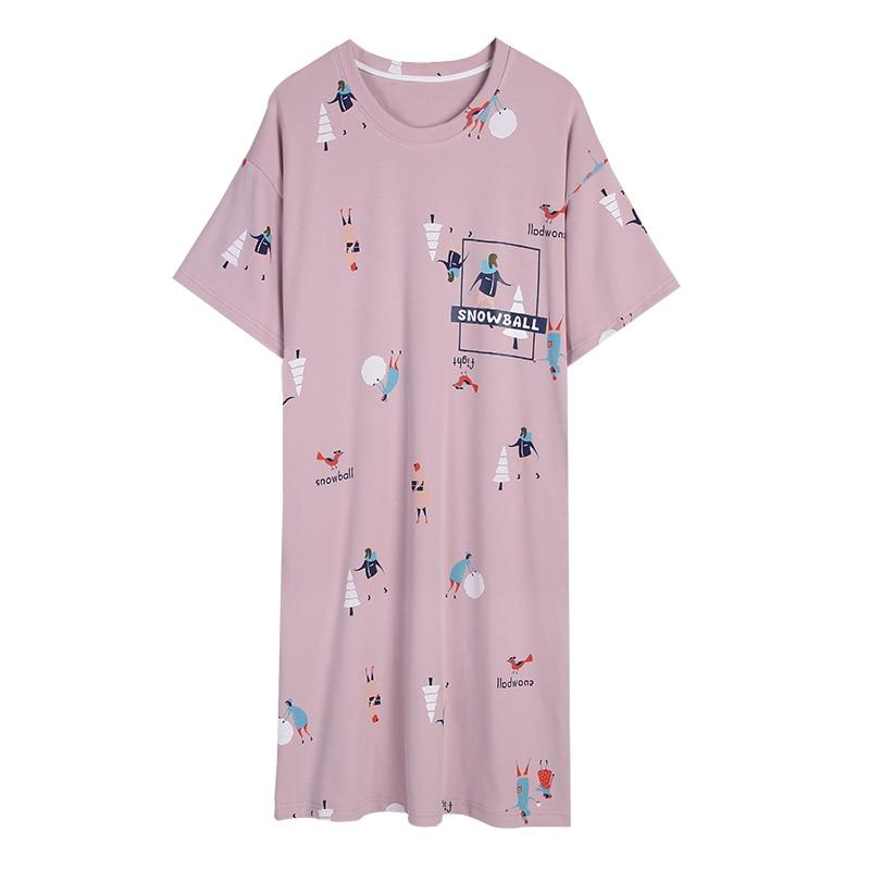 2019 Summer Soft Cotton   Nightgown   Women   Sleepshirt   Short-sleeved Chemise Sleepwear Female Round Neck Nightwear Nightdress 3XL