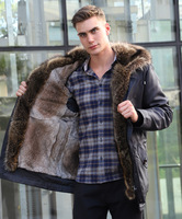 Men jacket winter real rabbit fur coat casual long parkas luxury outerwear men clothing 2018 rabbit fur liner detachable brand