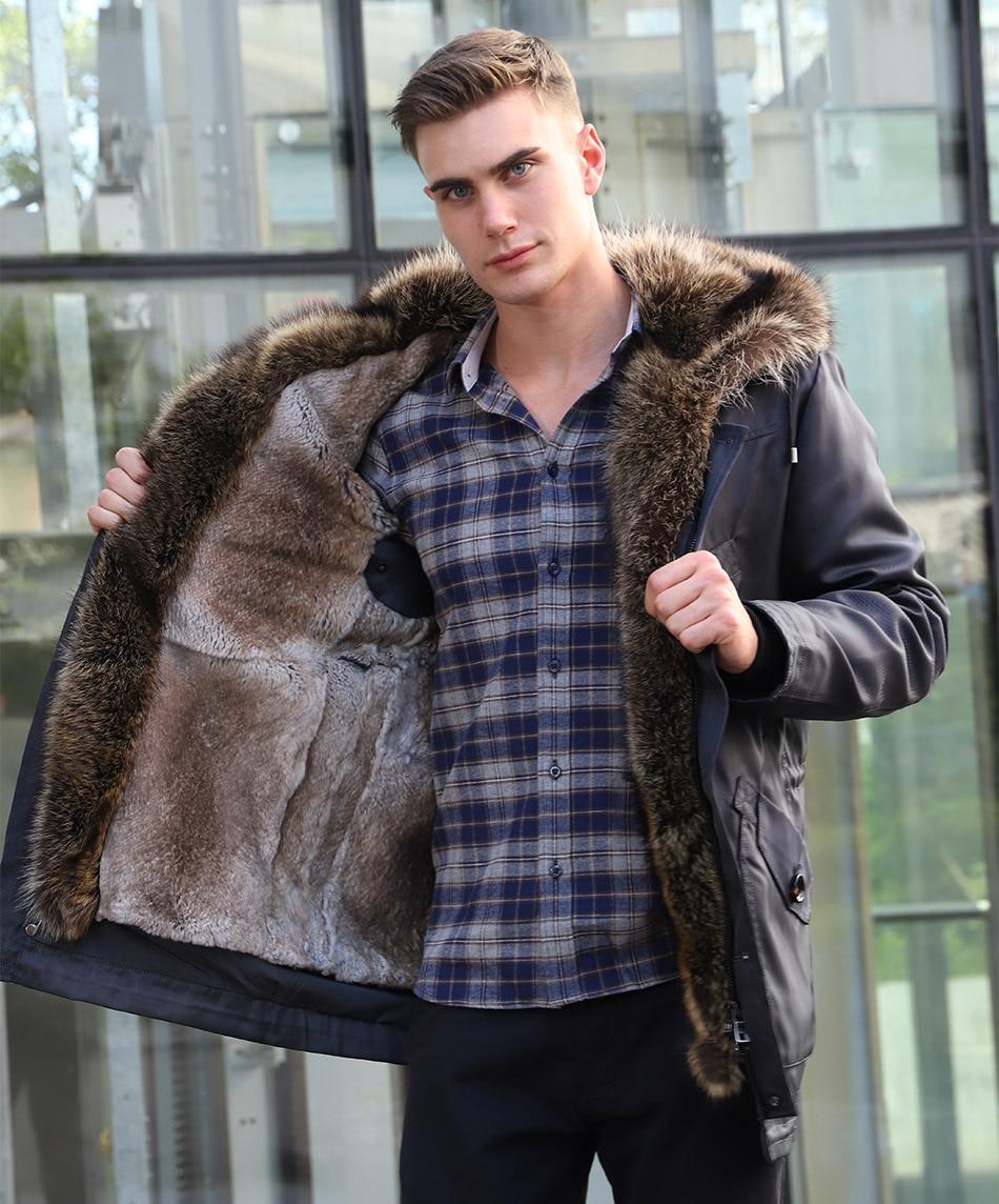 Men jacket winter real rabbit fur coat casual long parkas luxury outerwear men clothing 2018 rabbit fur liner detachable brand