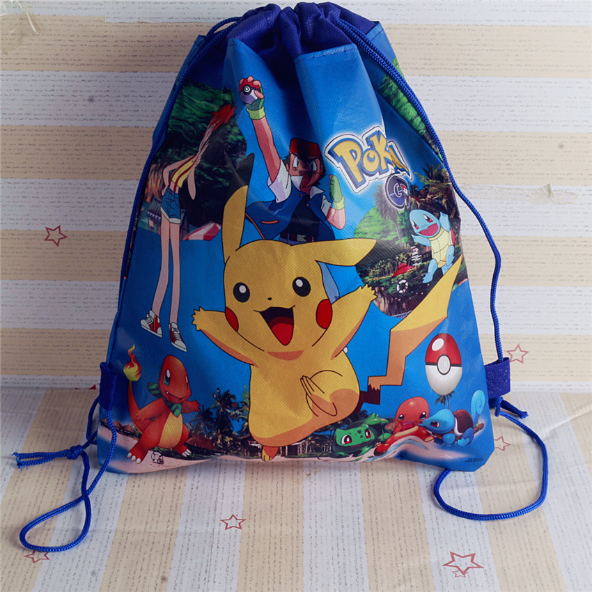 1pcs Pokemon Theme Non-woven Bag Fabric Backpack Child Travel School Bag Decoration Mochila Drawstring Gift Bag